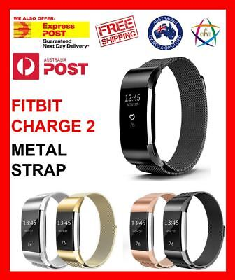 AU14.50 • Buy For Fitbit Charge 2 Band Metal Stainless Steel Milanese Loop Wristband Strap