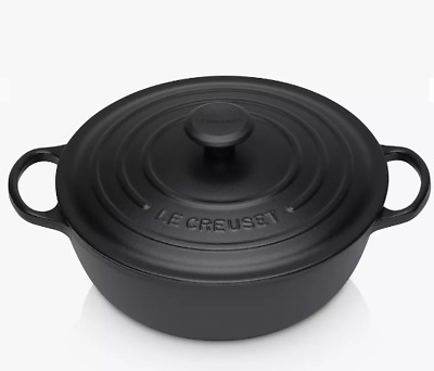 Le Creuset Cast Iron Round Casserole Soup Pot, 26cm, Black • 182£