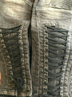Love Label By VERY - Black Biker Jeans With Lace Up - UK 18 • 10£