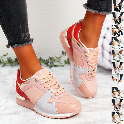 $ CDN29.35 • Buy Womens Ladies Lace Up Sport Sneakers Wedge Trainers Women Party Shoes Size Uk