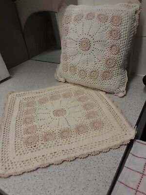 Cushion Cover Lace Crochet 14 By 14  Back Zip Cream.  • 4.99£