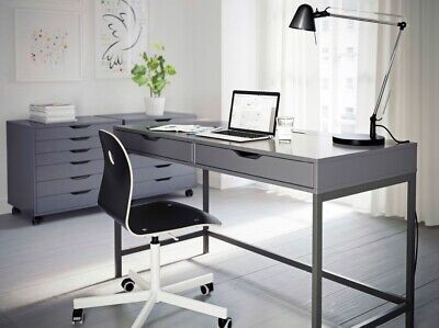 IKEA Grey Desk With 2 Drawers Computer Desk Office Dressing Table Alex SOLD OUT • 100£