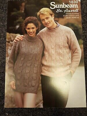 MENS AND LADIES DK Sunbeam Knitting Pattern  Sweater ~ Sizes 32  ~ 34  - 44-46 • 1.99£
