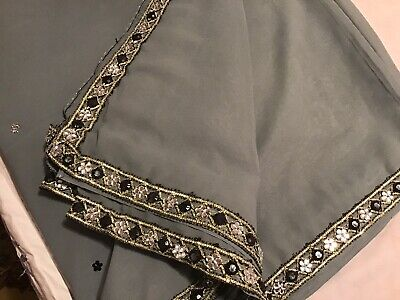 Saree Grey With Lace In Soft Georgette Very Light Weight Never Worn Looks Grand • 20£