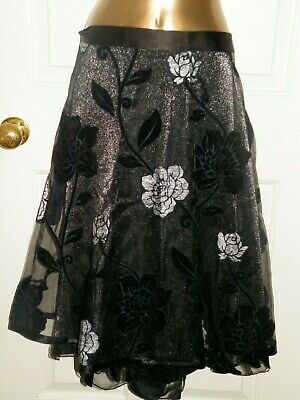 Black Silver Rose Net Overlay Evening Skirt Size 20 Per Una M&s New. • 29.99£