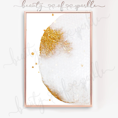 White And Gold Abstract Print Wall Art Picture. Free P&P. • 3.99£