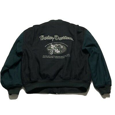 $ CDN69.78 • Buy Harley Davidson Letterman Wool Varsity Motorcycle Embroidered Patch Jacket Sz L