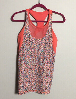 $ CDN22.58 • Buy Lululemon 12 Mesh With Me Scoop Neck Tank Top Coral Floral Size 12