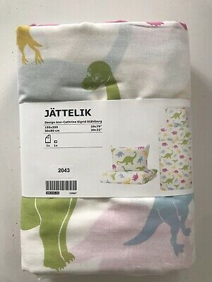 Ikea Jattelik Dinosaur Single Duvet Set 100% Cotton ~ BNWT • 10£