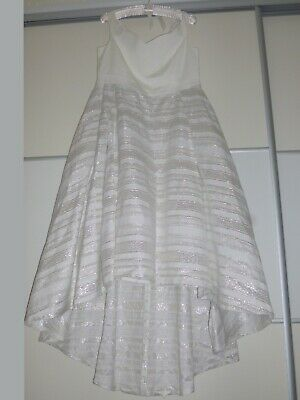 Worn Coast High/low Dress Uk Size 18 Colour Ivory With Silver Thread • 55£