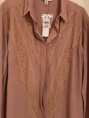 Ladies Top Shop Lace Shirt - Blush  (14) New Tags Was £25.00 • 4.50£