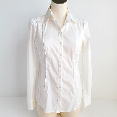 $ CDN34.25 • Buy White House Black Market Button Up White Shirt Womens 2 Long Sleeve