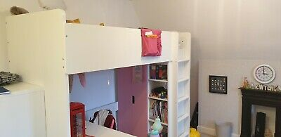 White & Pink Ikea Stuva (Smastad) Loft Bed Desk Chair Drawers Wardrobe & Chest • 175£