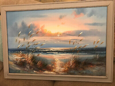 Large Beautiful Canvas Oil Painting Sea/seascape/ Beech Scene With Seagulls • 8.50£