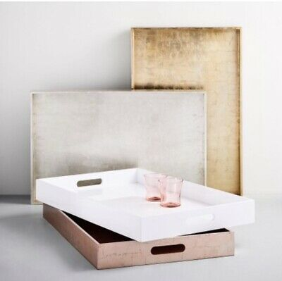 West Elm Large Gold Rectangle Lacquer Tray • 40£