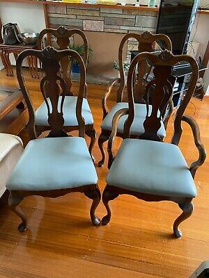 AU199 • Buy 8 Wooden Dining Chairs With Leather Seats Walnut Colour Wood