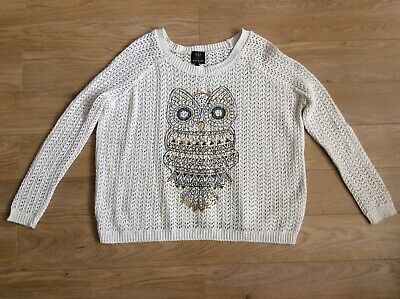 £9.99 • Buy **size 6/8/10 Oversized Ladies Lovely Owl Jumper Top, River Island (ch)**