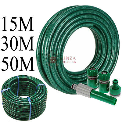 New 15m 30m 50m Reinforced Tough Garden Hose Reel Pipe Water Hosepipe And Nozzle • 18.75£