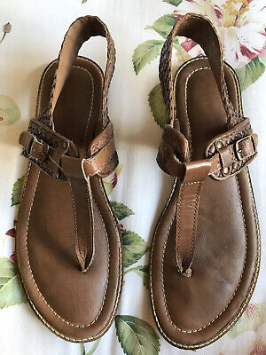 Firetrap Maisy Brown Leather Flat Sandals In Size 7/40 • 3£