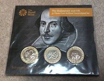 Bu 2016 William Shakespeare Bunc £2 Pound Coin Three Coin Set Rm Pack Sealed • 49.99£