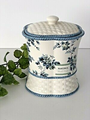 $ CDN15.19 • Buy Waverly Garden Room Blue Roses Floral Small Covered Jar For Bathroom Qtips