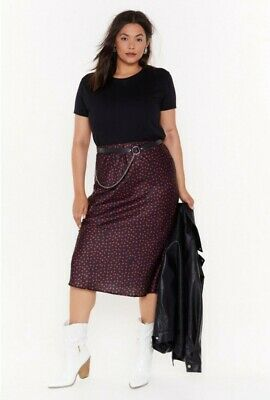 Nasty Gal Curve Navy And Red Polka Dot Satin Midi Skirt Size 22 • 0.99£