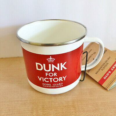 £9.40 • Buy Enamel Coffee Mug Tea Cup Camping Outdoors Red Dunk For Victory Dads Army