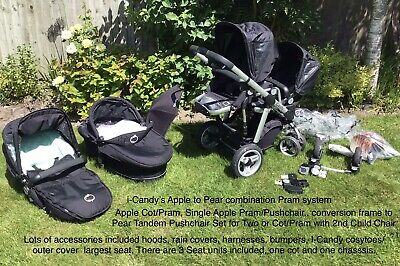 BABY PRAM  ICandy 'Apple 2 Pear' Single To Double Travel System & Accessories • 299£