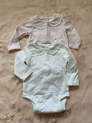 Baby Girl Next Long Sleeve Vest Frilly Lace Collar 0-3 • 3£