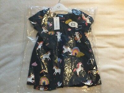 Blue Zoo Debenhams Navy Baby Dress With Unicorns, 6-9 Months, New With Tags • 2.20£