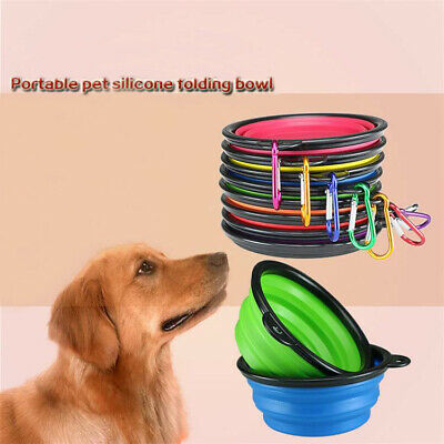 Collapsible Silicone Cat Dog Pet Feeding Bowl Water Dish Feeder Travel Portable • 1.19£