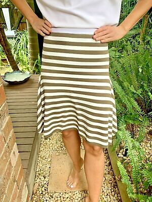 AU39.95 • Buy Scanlan Theodore Green And White Striped  Crepe Knit Skirt Size Small