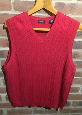 IZOD(formally Lacoste)V NECK SLEEVELESS JUMPER SIZE(M)IN RED CABLE KNIT,con't.⏩ • 7.90£