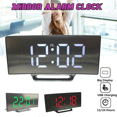 AU18.99 • Buy LED Mirror Alarm Clock Night Lights Thermometer Digital USB Rechargeable AU