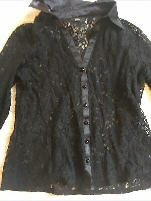 Marks And Spencer Size 18 Black Lace Shirt With Silk Cuffs And Collar • 13£