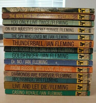 James Bond Ian Fleming Pan Books 14 Book Set Paperback Very Good Condition • 150£
