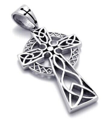 Celtic Cross Necklace & Chain Pendant Silver FC Irish Viking Stainless Steel • 6.99£