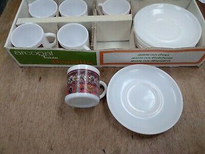 £5 • Buy Arcopal French White Espresso Coffee Cups Saucers Aztec Design 70s - Boxed BB221