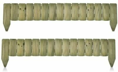 £18.99 • Buy 1M Fixed Picket Fence Log Border Edge Garden Outdoor Lawn Edging  Pack Of 2