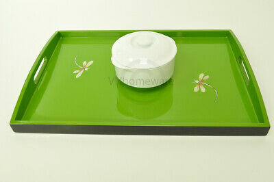 Lacquer Wooden Rectangular Tray, Serving & Decorative Tray, Green, Large H057L • 26£