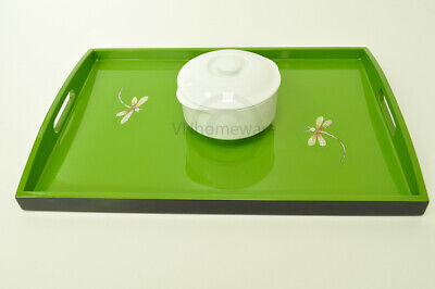 Lacquer Wooden Rectangular Tray, Serving & Decorative Tray, Green, Medium H057M • 24£