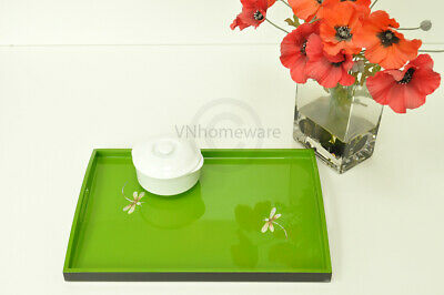 Lacquer Wooden Rectangular Tray, Serving & Decorative Tray, Green, Small H057S • 22£