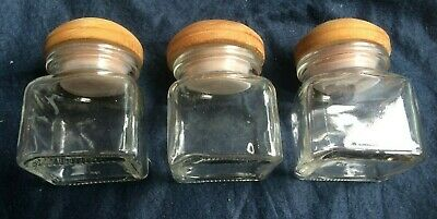 3 Vintage Glass Storage Jars Square Small With Wooden Lids *NEW* • 11.99£