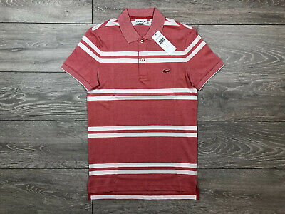 Lacoste Pink/White Striped Polo Shirt Size 2 XS Extra Small *BNWT* • 19.99£
