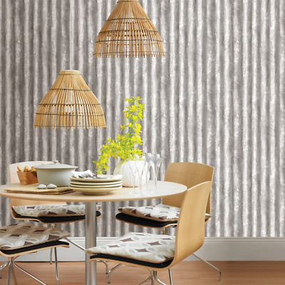 Corrugated Metal Panel Effect Wallpaper In Silver Grey • 32.97£