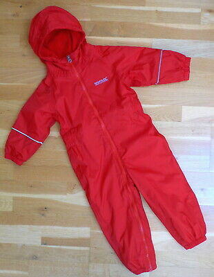 New Regatta OUTDOORS Fleece Lined Waterproof All-in-One Rain Splash Suit 2-3 Yrs • 27.99£