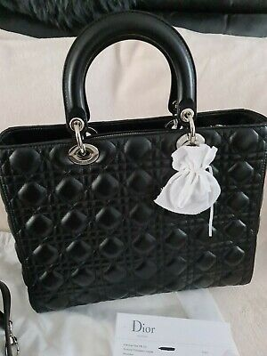 Christian Dior Lady Dior Bag - Black With Silver Hardware - Purchase Receipt • 2,500£