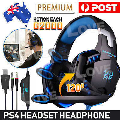 AU27.95 • Buy EACH 3.5mm Gaming Headset MIC LED Headphones G2000 For PC Laptop PS4 Xbox One