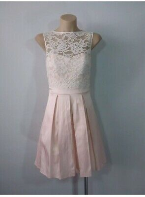 AU20 • Buy Forever New Size 8 Baby Pink & Lace Dress
