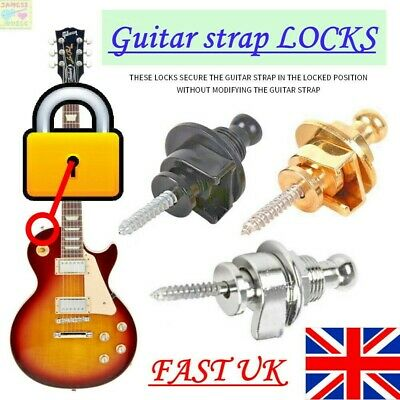 $ CDN5.24 • Buy 🔒 SILVER STRAP LOCKS Guitar Locking Buttons Fasteners Screw Bolt Electric Pins